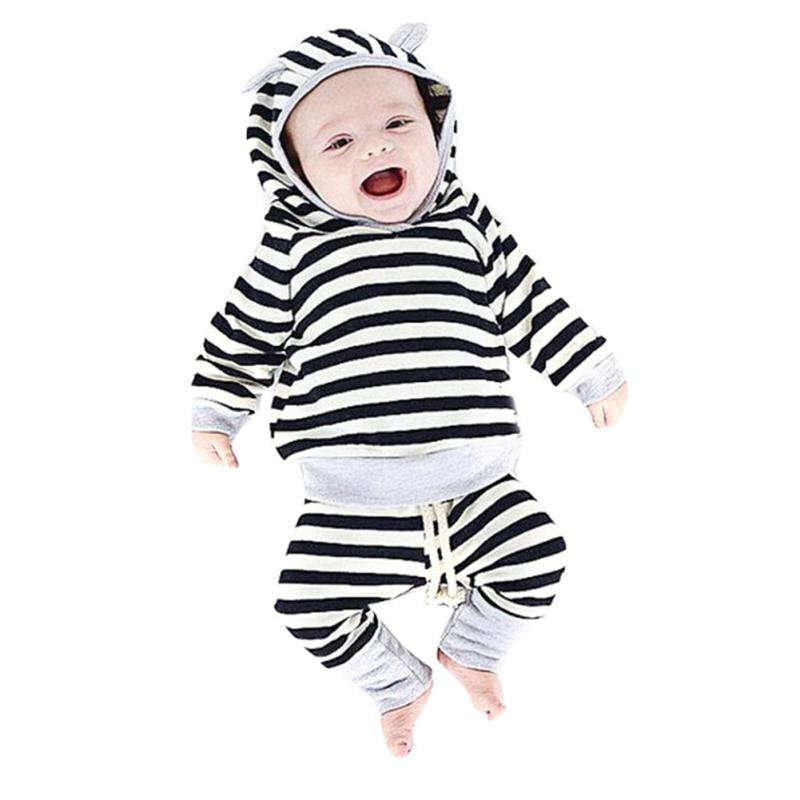 2 Colors 2pcs Black White Striped Sweat Shirts+Pants Baby ewborn Clothing