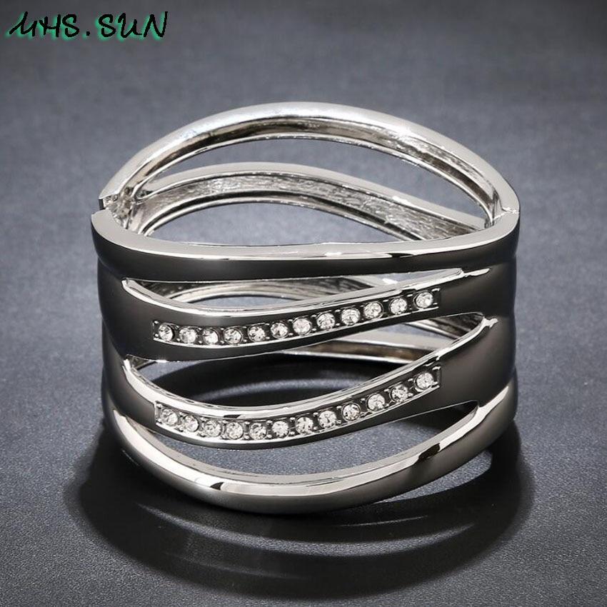 8-5Punk Hollow Ladies Women Bangle Bracelets Fashion Exaggerated Girls Bangles Bracelets European Female Jewelry For Gift