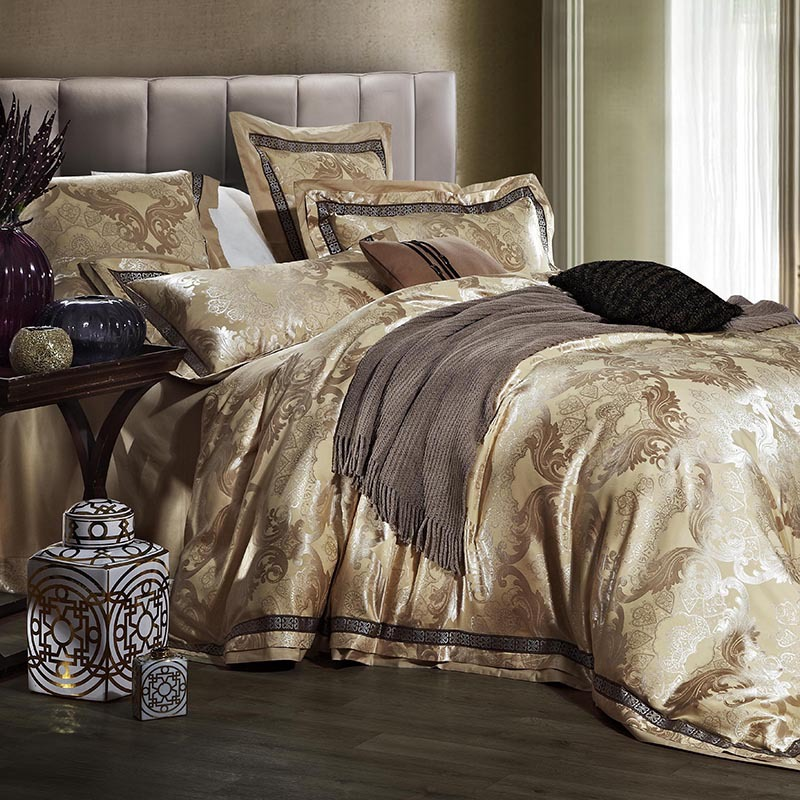 Luxury jacquard satin wedding bedding sets king queen size ...