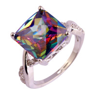 lingmei Mystic Rainbow Sapphire White Topaz Silver Ring Size 6 7 8 9 10 Fashion Jewelry Women Men Rings Free Shipping Wholesale