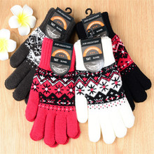 Fleece Lining Jacquard Knit Screen Touch Keep Warm Thick Snowflake Fashion Winter Adult Woman Gloves Mittens Accessory-DQC