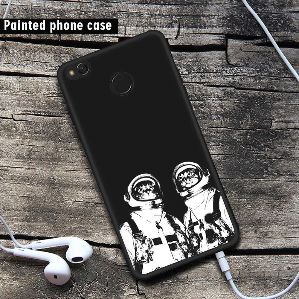 Peint étui de téléphone pour xiaomi Rouge mi Note 5 Pro 5 Plus 5A Premier 4X4 4A mi A1 mi 5X Doux Noir étui en polyuréthane thermoplastique Chat Mignon Motif De Poisson