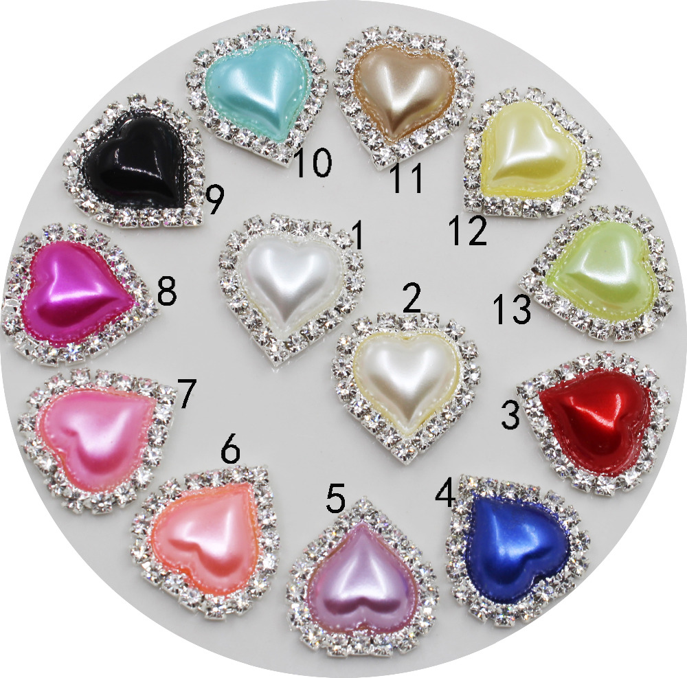 Fashion 10pc 20*23mm Pearl Buttons Beautiful Rhinestone Heart Wedding Botones Decorativos DIY Hair Scrapbooking Craft Supplies
