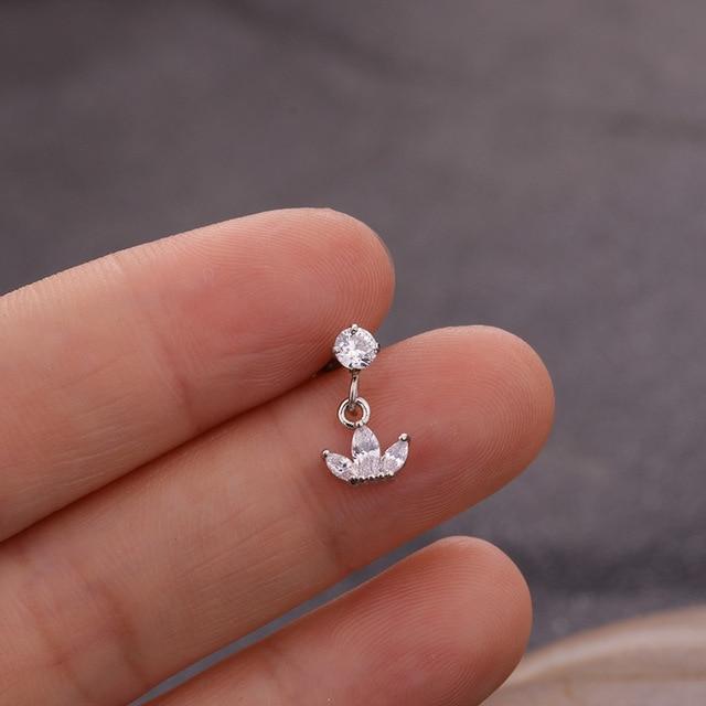 1pcs Cz Flower Star Heart Crown Cross Dangle Cartilage Earring Helix Piercing Jewelry Tragus Conch Earring.jpg 640x640 - 1pcs Cz Flower Star Heart Crown Cross Dangle Cartilage Earring Helix Piercing Jewelry Tragus Conch Earring stud