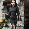 Le Palais Vintage 2016 Autumn Winter New Elegant Black Lace Splicing Flare Sleeve Slim Was Thin High Split Dress Women Dresses