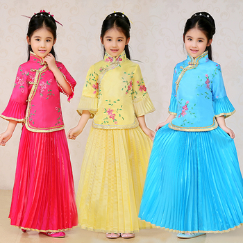 Children Chinese Traditional Dance Costume Girl Chinese Folk Costume Kids Ming Costume Hanfu Dress Performance Dance Dress 89 rose