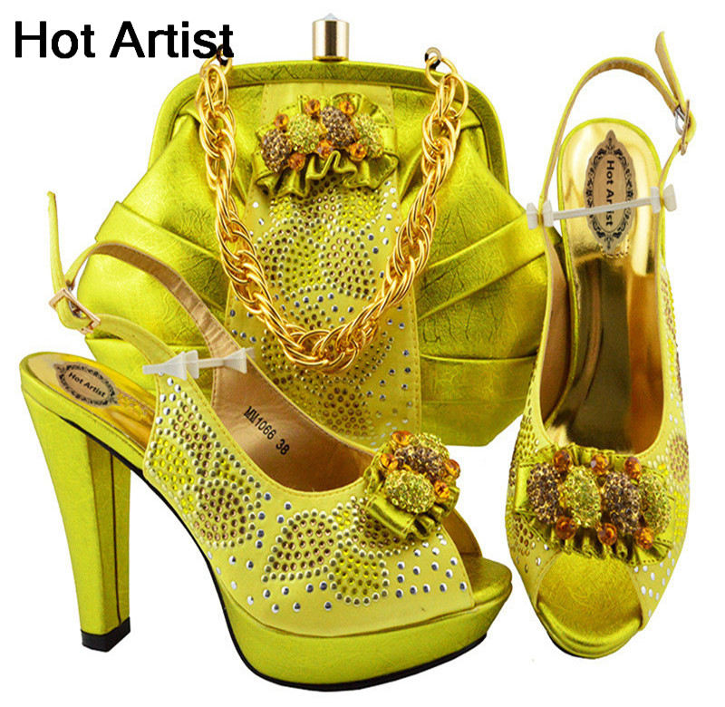 Hot Artist Latest Design Italian Shoe And Bag Set Yelow Color Wedding African High Heels Shoes And Bag Set For Woman MM1066 hot artist latest italian high heels shoes and bag set for party african women shoes and matching bag set size 38 43 mm1056