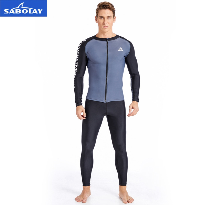 SABOLAY Men Rashguard Lycra Super Elastic Sunscreen UV Quick dry Swimwear Protect T-shirt Pants Long Sleeve Surfing Diving Suit