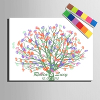 DIY Fingerprint Tree Signature Canvas Painting Wedding Gift Wedding Decoration Guest Book