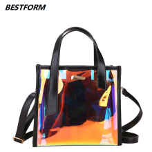 BESTFORM Crossbody Bags for Women 2019 Laser Transparent Bags Fashion Women Korean Style Shoulder Bag Messenger PVC Beach Bag fashion neutral laser beach bag classic style messenger crossbody bag chest bag p dropship