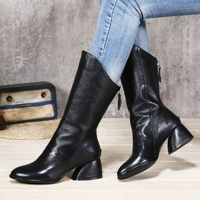 Fashion Black Mid-Calf Boots Women Shoes Genuine Leather Thick Heel Female Soft Boots Handmade Lady Shoes