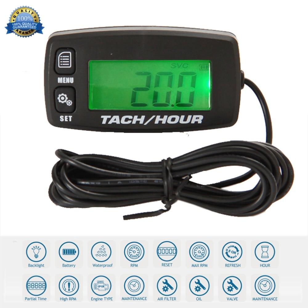 Resettable Inductive Digital Tacho Hour Meter Tachometer For Motorcycle Marine Boat ATV Snowmobile Generator Mower RL
