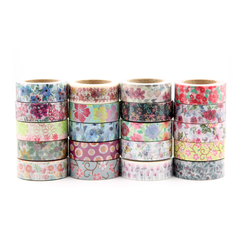Top 26 Designs Cute Kawaii Plants Flowers Japanese Masking Washi Tape Decorative Adhesive Tape Decora Diy Scrapbooking Label