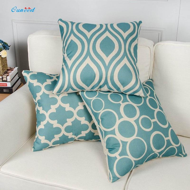 Ouneed Vintage Geometric Flower Cotton Linen Throw Pillow Case 45*45cm Car Seat Bed Home Decorative Pillowcase