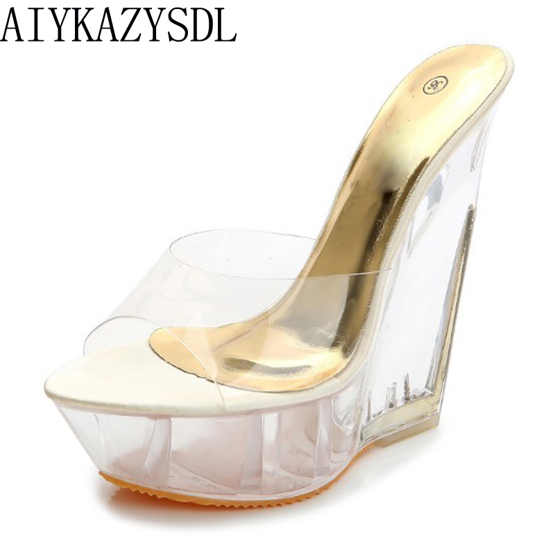 AIYKAZYSDL Sexy Summer Fashion High Heels Sandals Slippers Mules Transparent Crystal Platform Wedges Shoes 15CM Jelly Sandals