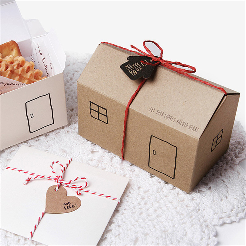 10pcs lot Cute Small House Shape Baby Shower Candy Boxes Baking Pastry Packaging White Wedding Party Favor Candy Gift Box in Gift Bags Wrapping Supplies from Home Garden