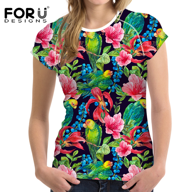 FORUDESIGNS 3D Flowers T-shirts Women Summer Tops Tees Print Birds T shirt Women Fashion Tshirts Vetement Femme Plus Size S-XXL