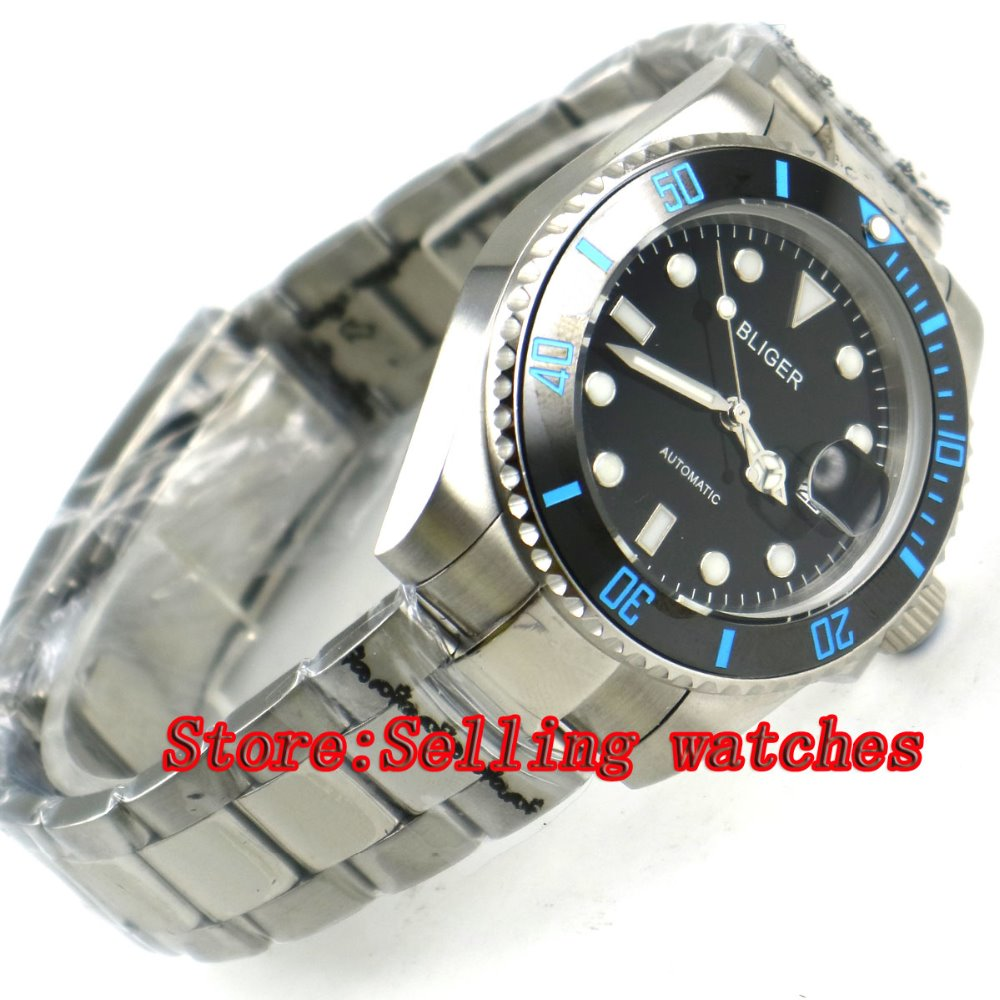 40mm Bliger black Dial ceramic bezel  Stainless Steel Strap Sapphire Glass Automatic Movement Mens Mechanical Wristwatches p06240mm Bliger black Dial ceramic bezel  Stainless Steel Strap Sapphire Glass Automatic Movement Mens Mechanical Wristwatches p062