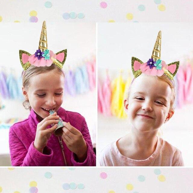 WEIGAO Birthday Girl Sash Satin Silk Sash with Unicorn Headband Girl 1st Birthday Party Decor Rainbow Unicornio Party Headbands 5