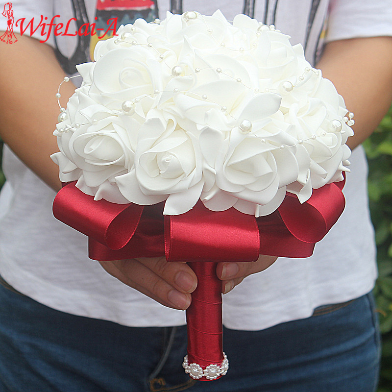 Free Shipping Cheap PE Rose Bridesmaid Wedding Foam flowers Rose Bridal bouquet Ribbon Fake Wedding bouquet de noiva Customized(China)
