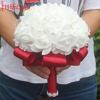 Bezpłatna dostawa tanie PE Rose druhna ślub kwiaty pianki Róża Bukiet ślubny wstążka fałszywe ślub bukiet de Noiva dostosowane tanie i dobre opinie WIFELAI-A 23cm Poliester Rayon jedwab 18cm 0 3 kg masy PL15 wiele kolorów jako piprawdziwa Pokaż Koraliki perłowe pianka diament akrylowy