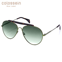 COLOSSEIN 파일럿 선글라스 여성용 빈티지 코팅 UV400 그라디언트 안경 라이트 메탈 합금 아세테이트 안경 Sun Glasses Men