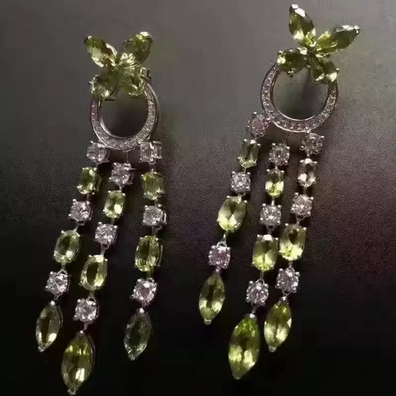 natural olivine drop earrings 925 silver Natural peridot gemstone earring women fashion luxurious tassel drop earrings for party pair of stylish bead chain tassel drop earrings for women