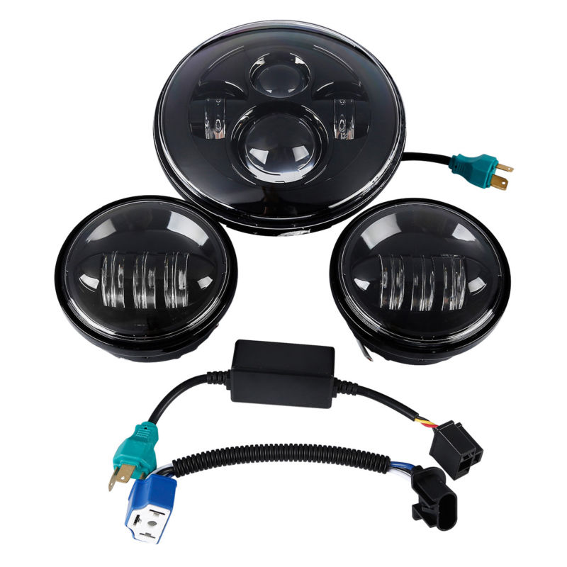 Motorcycle 40W 7 Hi/Lo LED Headlight 4.5 4 1/2'' 30W Auxiliary Fog Passing Light Lamp For Harley