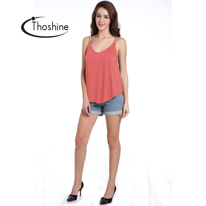 d5733550c4 Thoshine Brand Summer Style Women Hollow Out Loose Tank Tops Deep V Neck  Solid Color Female Backless Camis Spaghetti Strap Tees-in Camis from Women's  ...