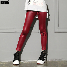 Famli Baby Kids Faux Leather Leggings Spring Autumn Girls Solid Skinny Pencil Pant 3-9Y Children Girl Fake Leather Pant Trousers