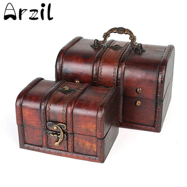 Vintage Jewelry Storage Box Wooden Organizer Case Metal Lock Wood