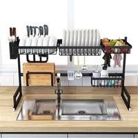 65/85cm Over Sink Stainless Steel Kitchen Shelf Storage Holders Bowl Dish Rack Organizer Utensils Storage Supplies in Black