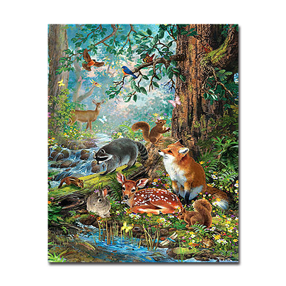 Colorful Squirrel Paint By Numbers Kits DIY Number Canvas Painting Hand Animals