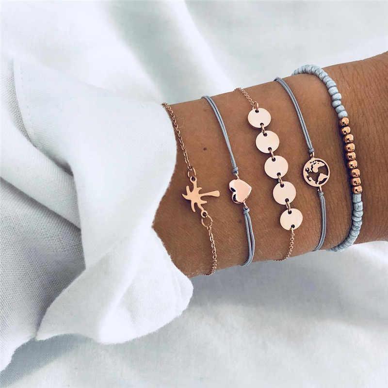 Accesorios mujer בוהמי קסם חרוז צמיד נשים ציצית לב עץ bijoux acier inoxydable femme סטים תכשיטי armband