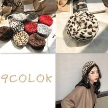 DICLOUD de leopardo Vintage boina invierno de las mujeres de lana de moda  sombreros mujer Faux 207ab13a2a2