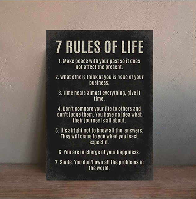 7 Rules Of Life Motivational Quotes Poster 13x20in Wall Art Silk Poster  Living Room Decoration Unframed