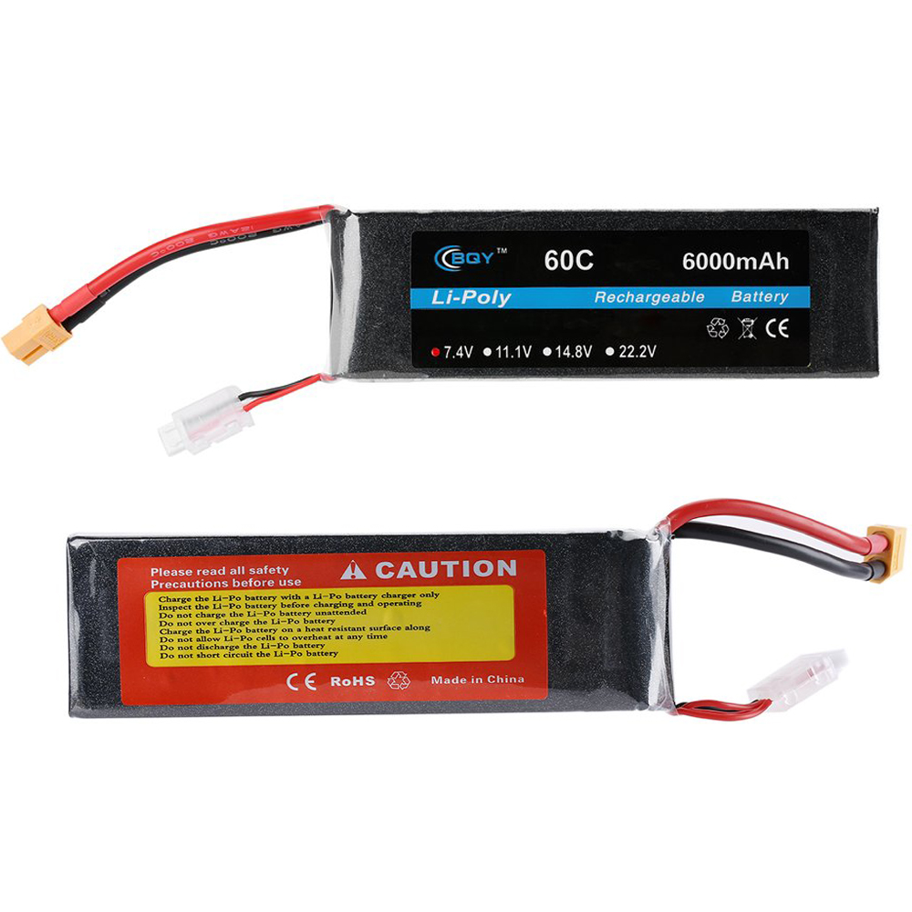 1pcs BQY Power Lipo battery 7.4V 11.1V 6000mAh 60C XT60 Plug 2S 3S Lipo Battery for Airplane RC Drone Car Boat