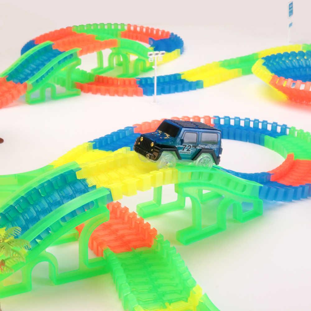 Estrada de ferro mágico brilhante flexível, pista, carro, brinquedos, crianças, corrida, curva, trilho, led, eletrônico, flash luz, carro, diy, brinquedo, crianças presente