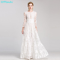 QYFCIOUFU Runway Maxi Dress Women's Long Sleeve High Quality Red White Tulle Embroidery O neck Floor Length Elegant Party Dress