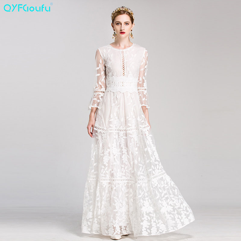 QYFCIOUFU Runway Maxi Dress Womens Long Sleeve High Quality Red White Tulle Embroidery O-neck Floor Length Elegant Party Dress