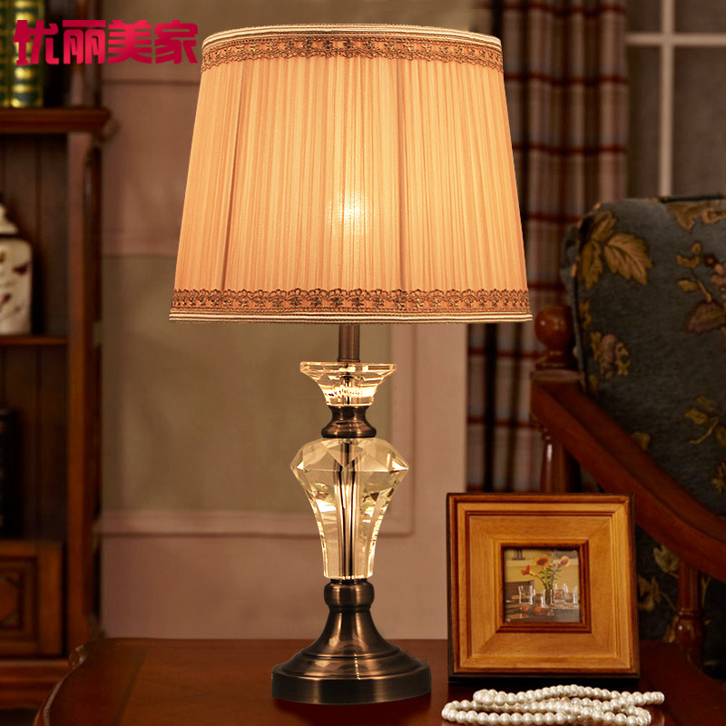 Туда 2017 теперь настольная лампа Винтаж Ретро Кристалл ночники Спальня Гостиная оформлены, настольные лампы классический