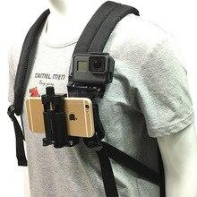 360 graus rotativo mochila saco clipe chapéu braçadeira rápida montagem para o telefone móvel gopro hero 9/8/7/6/5/4/3 + câmera de ação sjcam yi 4k