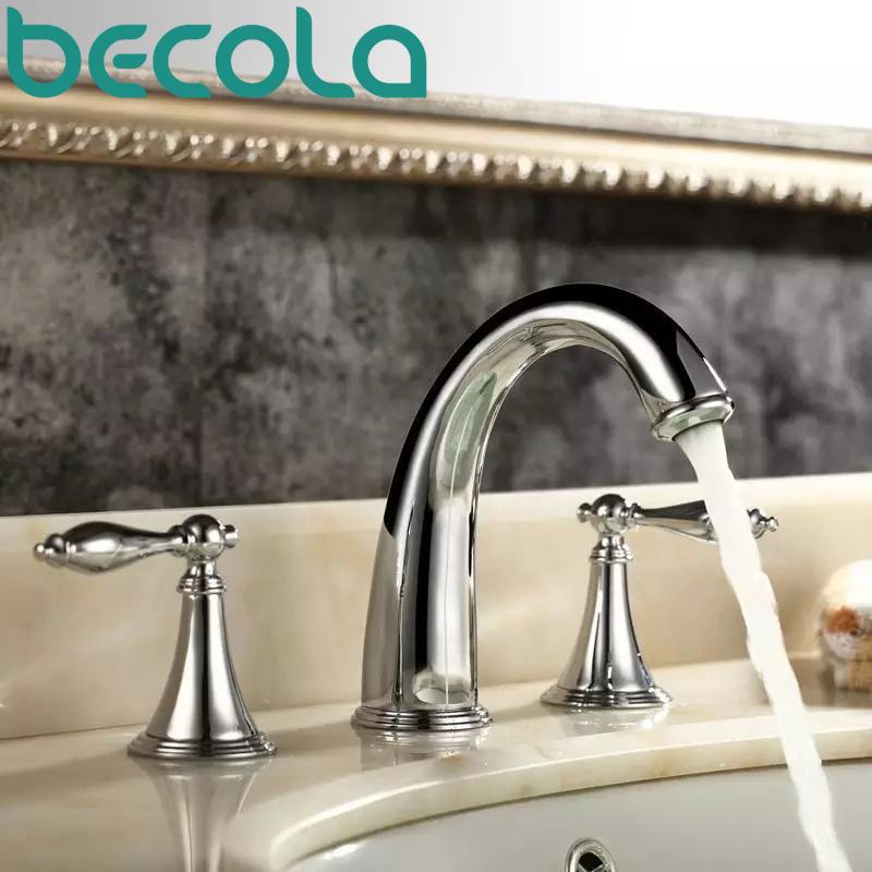 Free Shipping BECOLA Chrome basin faucet Brass tub faucet Deck mounted bathroom tap GZ-8202C free shipping becola luxury high quality gilded faucet deck mounted gold basin faucet bathroom brass tap b 1086m