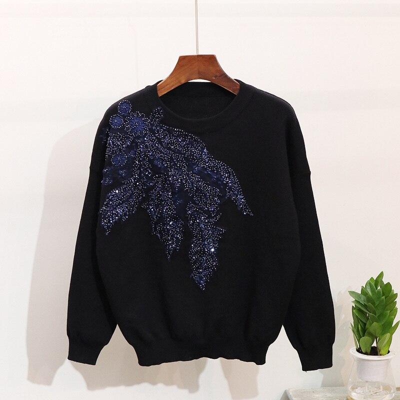 Survêtements Broderie Pantalon Pulls Tricoté Ensembles Femmes Pièces Automne Fleur Tricoter gray Black Cavalier 2 À 3d Sequin Printemps qxgpEvYp