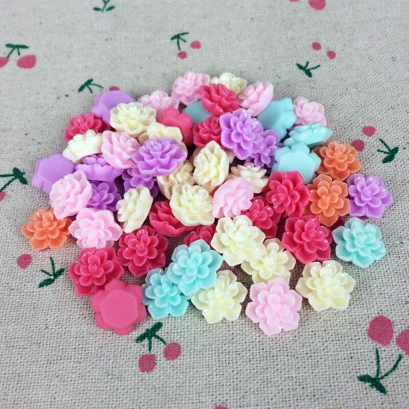 50 Pieces Mix Color Flatback Flat Back Resin Flower Cabochon Kawaii DIY Resin Craft Decoration Scrapbooking Embellishment 14mm