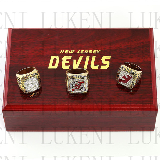 One set (3PCS) 1995 2000 2003 New Jersey Devils Stanley Cup Championship  Ring With Wooden Box Replica Rings LUKENI 7869bcd97