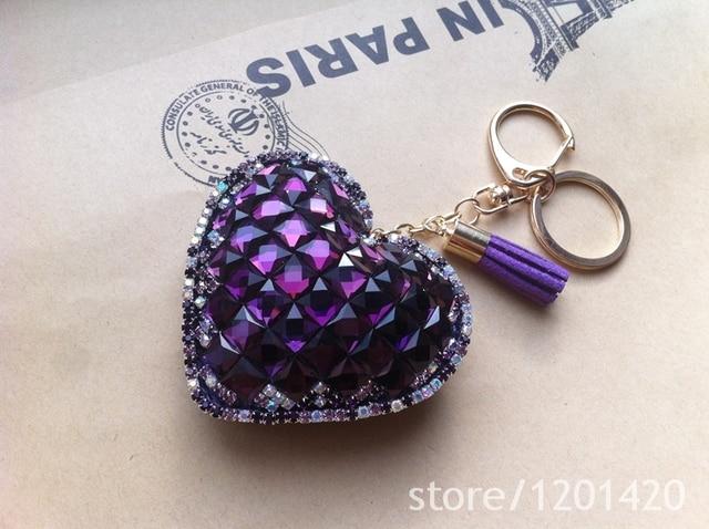 Key Chains Crystal Handmade heart shaped Keychains Keyring Fashion bag charm  Ring women handbag Jewelry