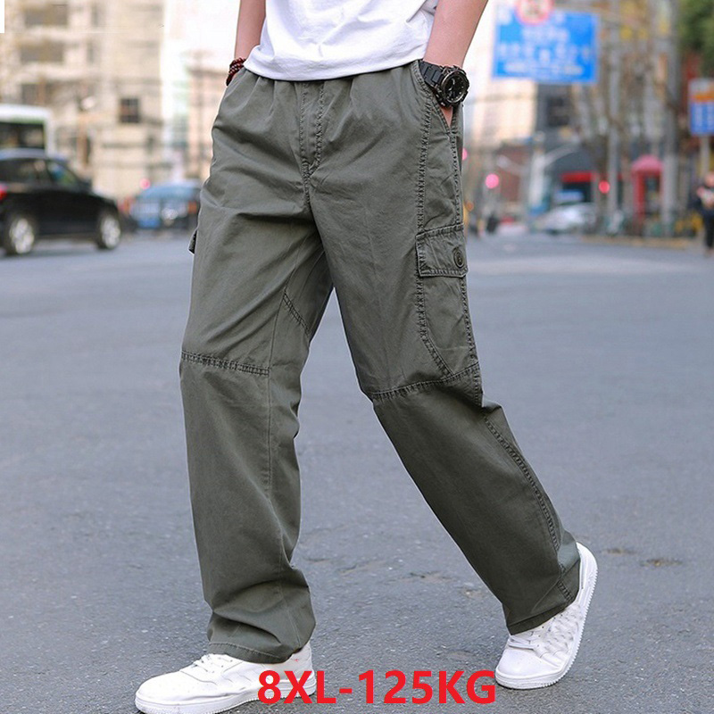 Men Large size 7XL 8XL casual cargo pants pocket plus size big 6XL streetweat pants 48 winter spring out door Straight trousers(China)