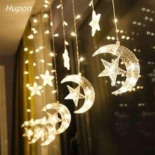 Moon Star LED Fairy String Christmas Lights Ramadan Decoration Holiday Curtain Lamp 220v Wedding for Eid Mubarak