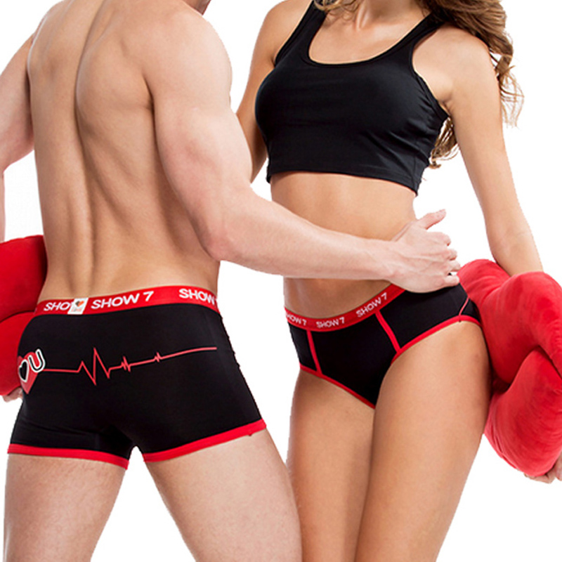 Black/White Couples Lovers Sexy Underwear Men Boxer Women Panties Breathable Printing Shorts Underwear Underpants Clothing